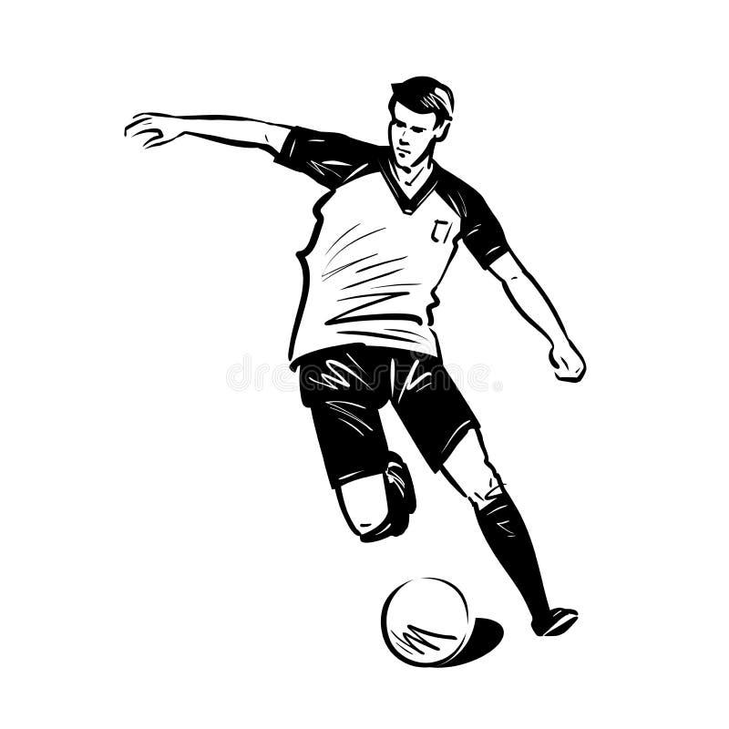 足球运动员跑与球 概念查出的体育运动白色 剪影传染媒介例证 库存例证