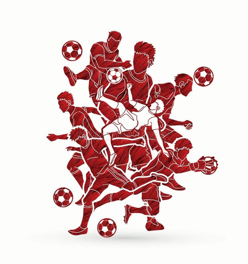 足球运动员队构成图表传染媒介 库存例证