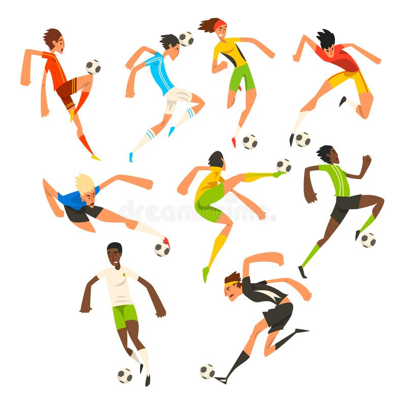 足球运动员集合,橄榄球运动员使用,踢,训练和实践的传染媒介例证在白色 皇族释放例证