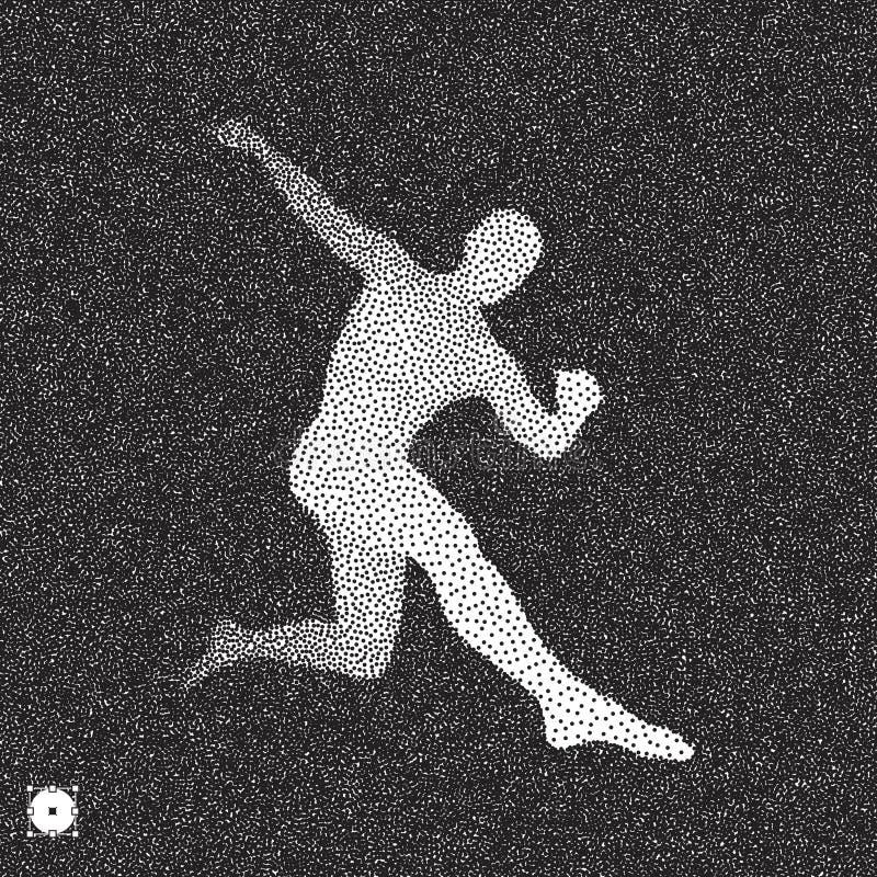 足球运动员 3D人模型  黑白粒状dotwork设计 被点刻的传染媒介例证 库存例证