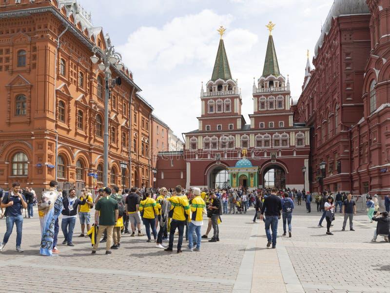 足球迷在莫斯科,俄罗斯 免版税库存照片