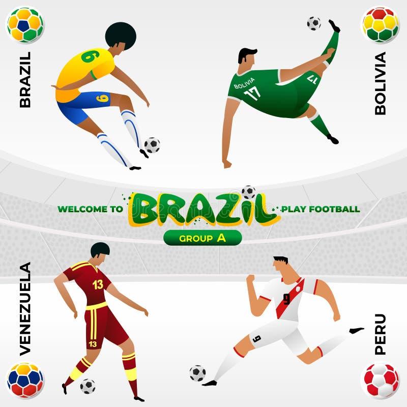 足球选手在巴西国家标志的样式的背景中 向量例证