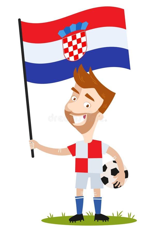 足球选手属于克罗地亚,举行克罗地亚旗子佩带的红色的动画片人和白色衬衫和短裤 库存例证