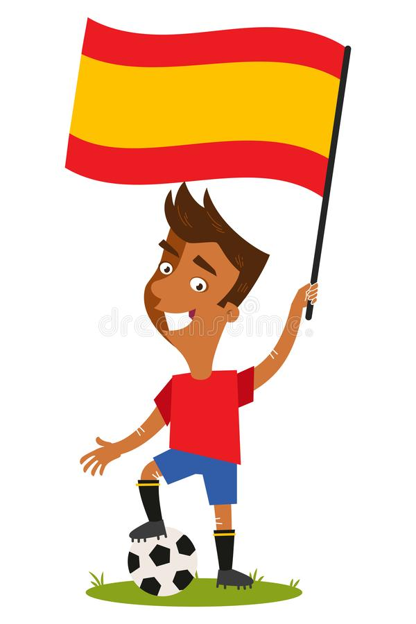 足球选手属于西班牙,拿着西班牙旗子的动画片人穿着红色衬衣和蓝色短裤 向量例证