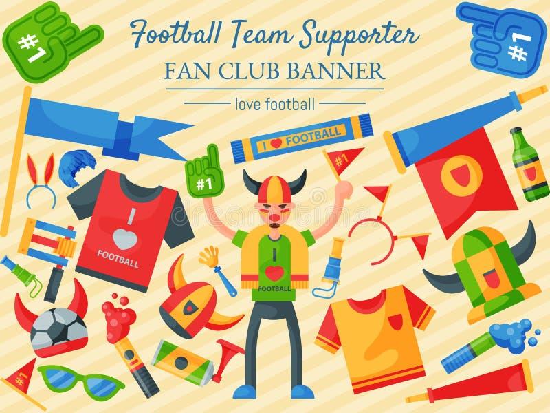足球队支持者传染媒介例证 粉丝俱乐部横幅 足球体育迷属性,拔根器抛光人辅助部件 库存例证