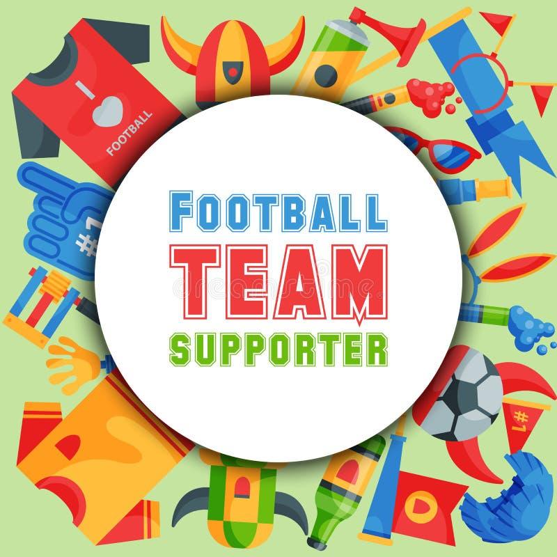 足球队支持者圆的样式传染媒介例证 足球体育迷属性,拔根器抛光人辅助部件和 皇族释放例证