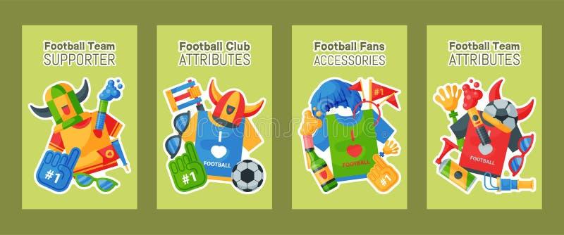 足球队支持者套卡片,横幅导航例证 足球体育迷属性,拔根器抛光人 皇族释放例证