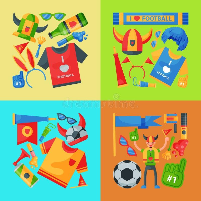 足球队支持者横幅传染媒介例证 足球体育迷属性、拔根器抛光人辅助部件和供应 向量例证