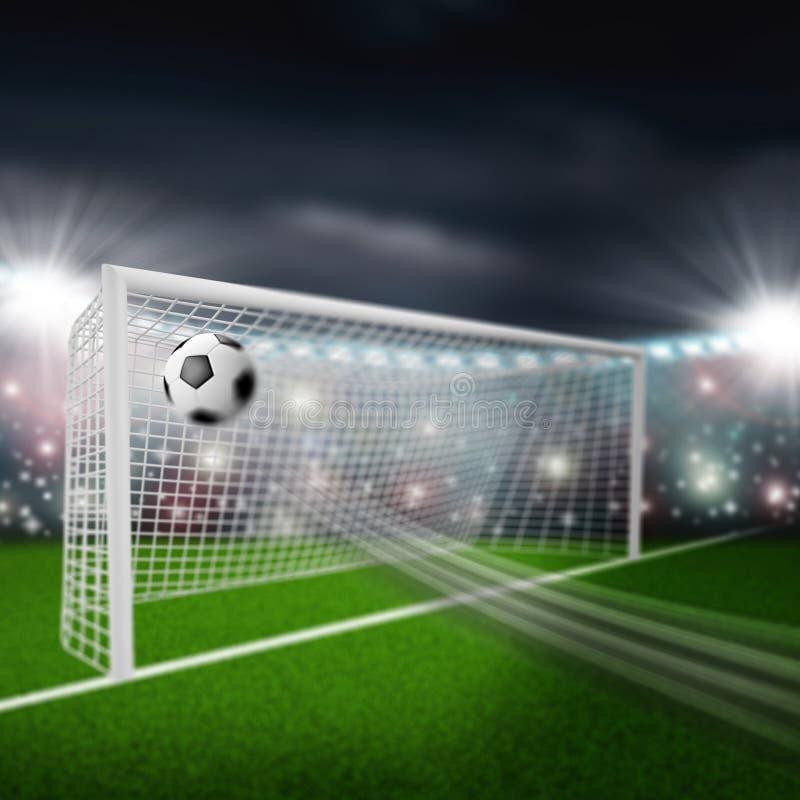 足球飞行入目标 免版税库存照片