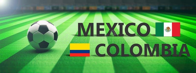 足球,足球比赛,墨西哥对哥伦比亚 3d例证 库存例证