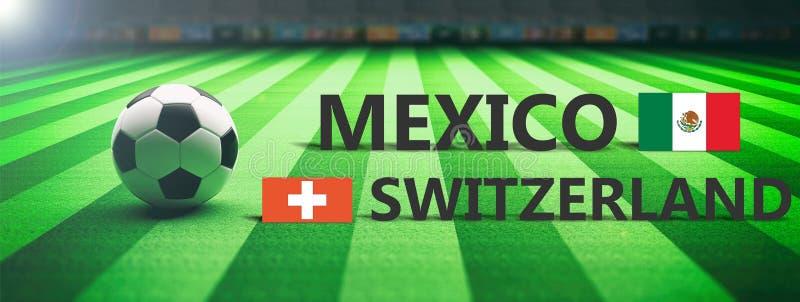 足球,足球比赛,墨西哥对瑞士, 3d例证 向量例证