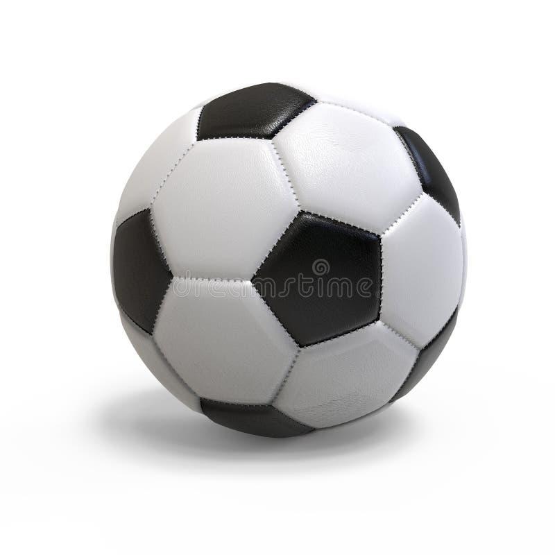 足球,隔绝在白色背景 3d例证 库存照片