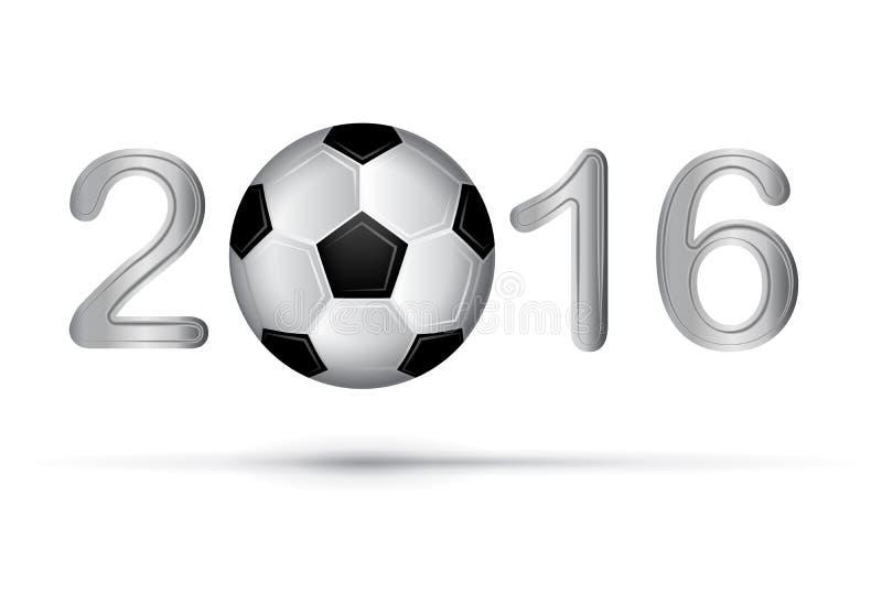足球2016年在白色的数字 皇族释放例证