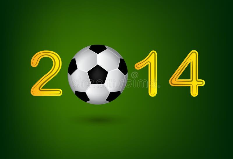 足球2014年在绿色背景的数字 向量例证