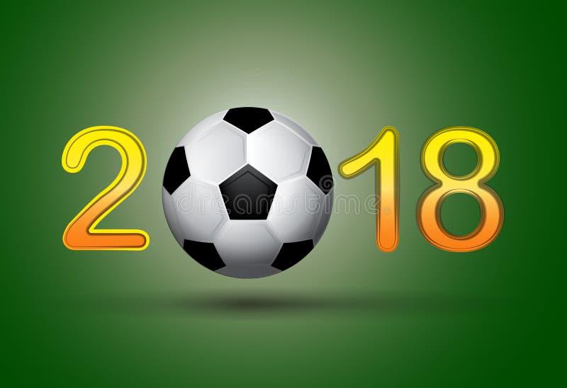 足球2018年在绿色背景的数字 向量例证