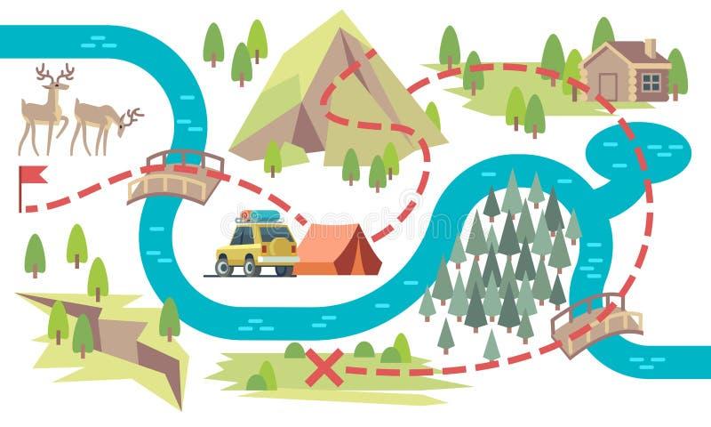 足迹地图 自始至终远足小径有野营的地点和旗子的游人 旅游路线图传染媒介 向量例证