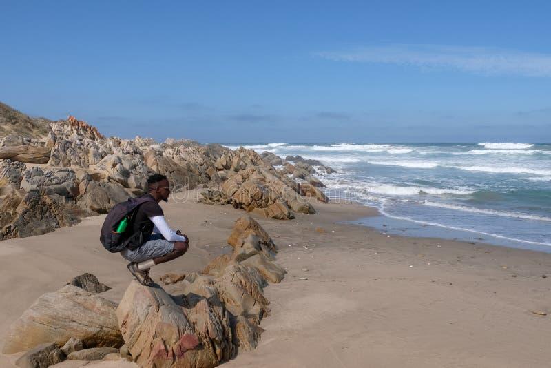 足迹指南在蛎鹬足迹的岩石蹲下在庭院路线的Boggams海湾,南非附近 库存图片