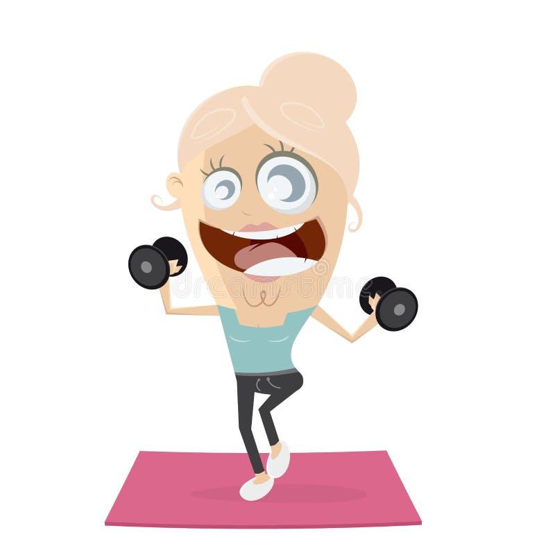 活跃健身女孩举的重量 库存例证