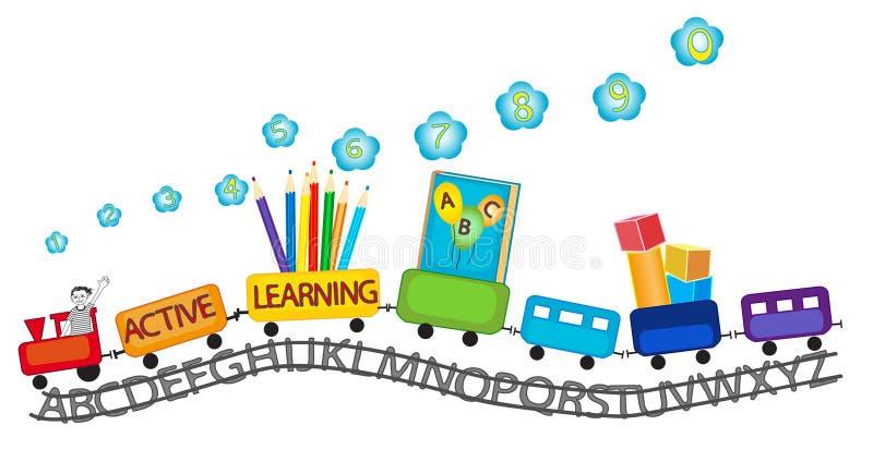 活跃学会学龄前孩子五颜六色的火车的 库存例证