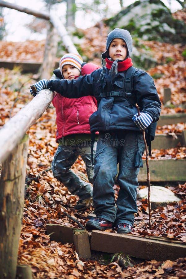 活跃男孩远足 免版税图库摄影