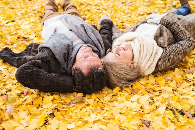活跃资深夫妇在秋天停放说谎在地面上 免版税库存照片