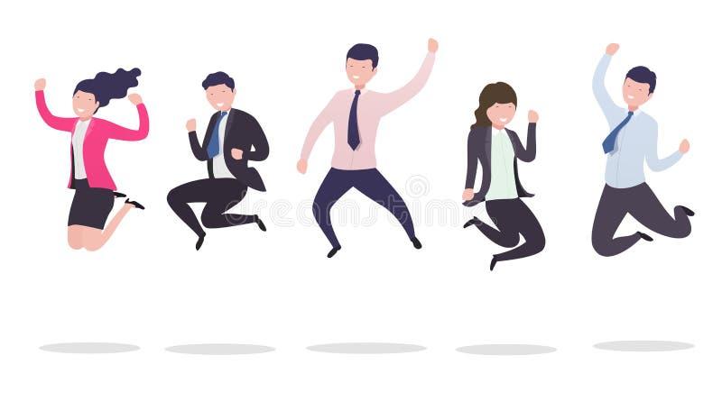 跃迁的商人 成功的愉快的商人跳跃从幸福庆祝成功的一个小组 皇族释放例证