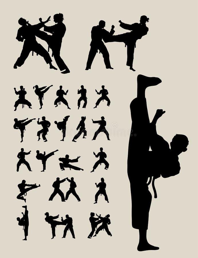 跆拳道和空手道剪影 向量例证