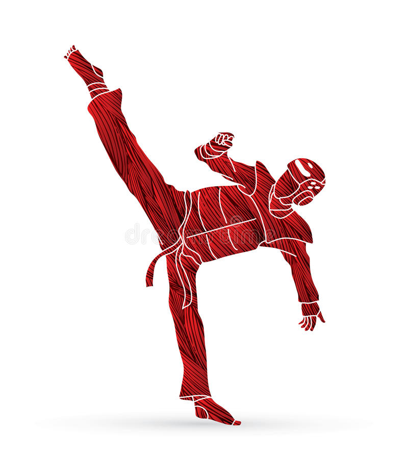 跆拳道高反撞力行动用卫兵设备 向量例证