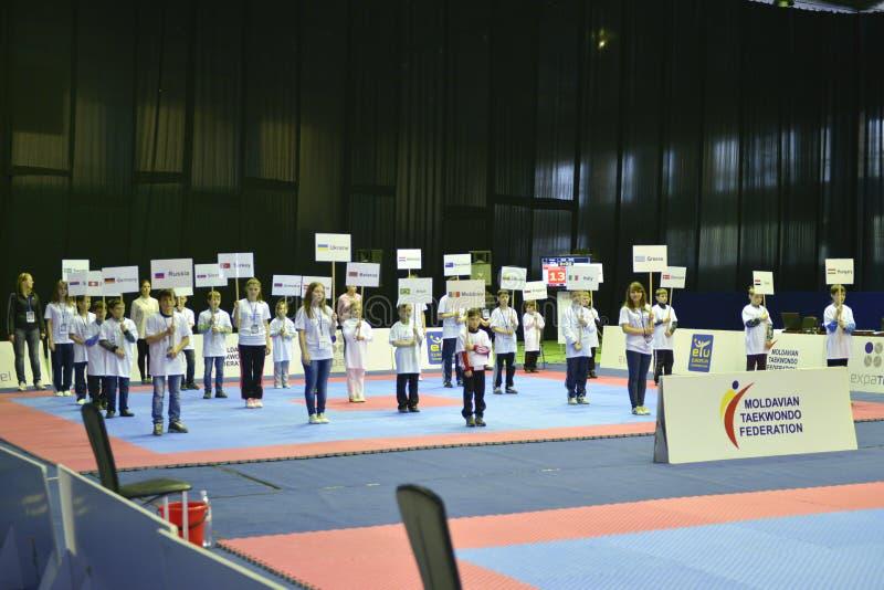 跆拳道wtf比赛 免版税库存照片