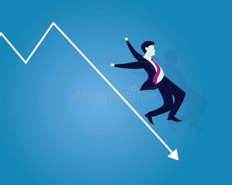 跌倒在箭头的企业倒闭商人 库存例证