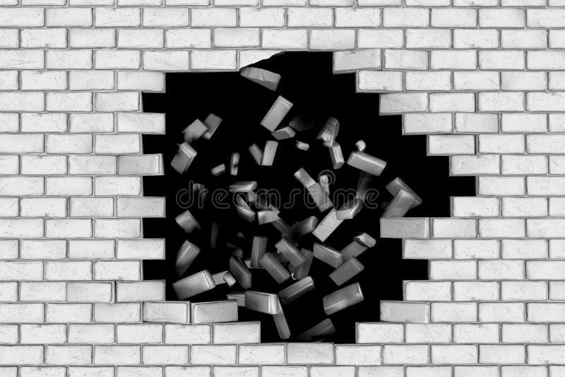 跌倒白色的砖墙做孔 黑色背景 皇族释放例证