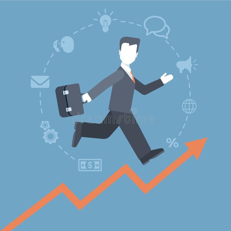 跑上升的收入图表概念的平的样式人 库存例证