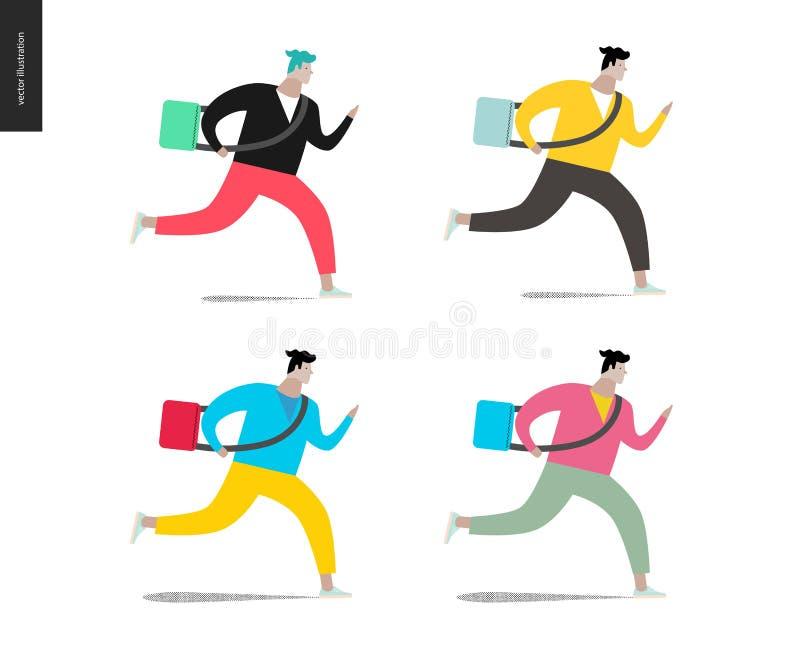 跑与在四种颜色的一个袋子的年轻人 皇族释放例证