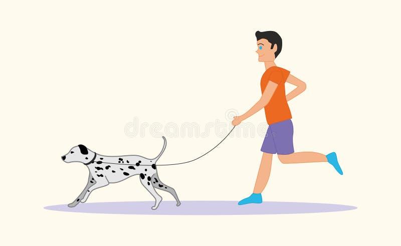跑与狗品种达尔马提亚狗的人或男孩 蝴蝶 向量例证
