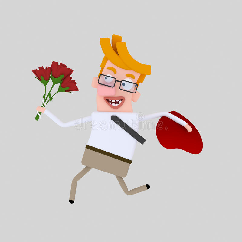 跑与玫瑰花束的人  向量例证