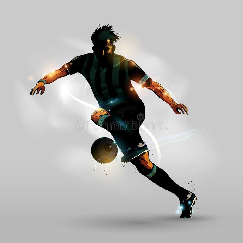 跑与球的抽象足球 皇族释放例证