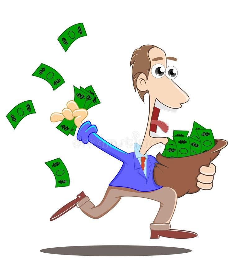 跑与袋子金钱 向量例证