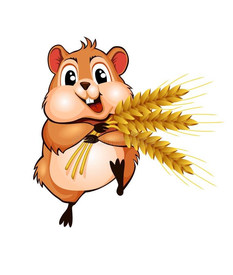 跑与麦子的三个耳朵的小的逗人喜爱的仓鼠 向量例证
