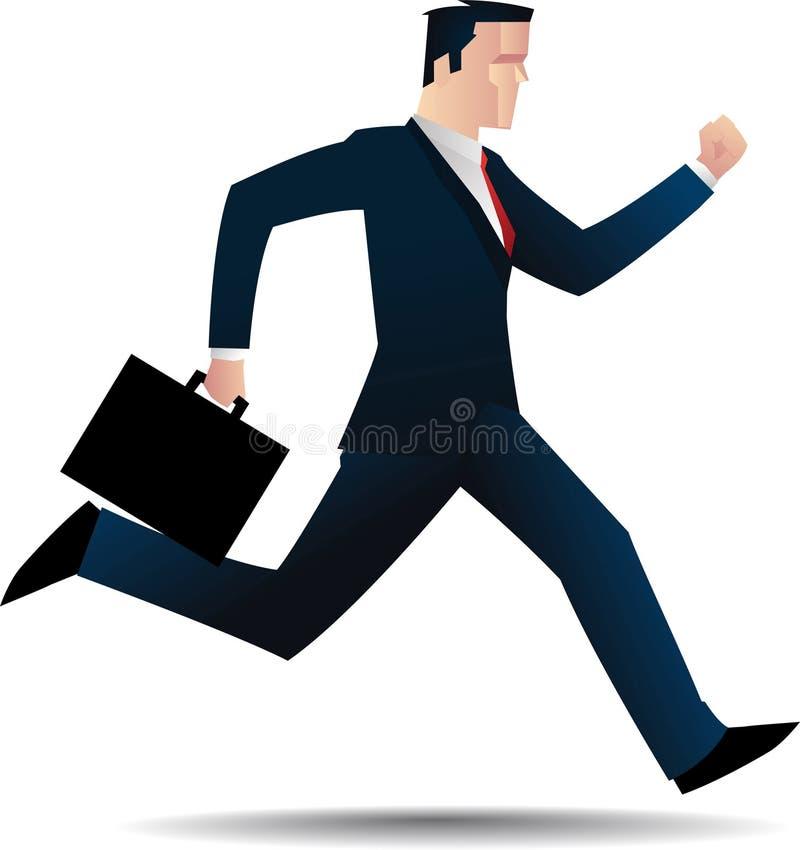 跑与黑公文包的商人买卖人 库存例证