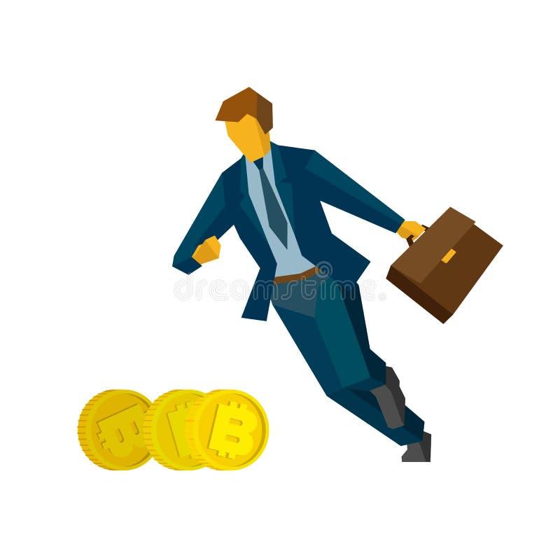跑为金bitcoins的商人 皇族释放例证