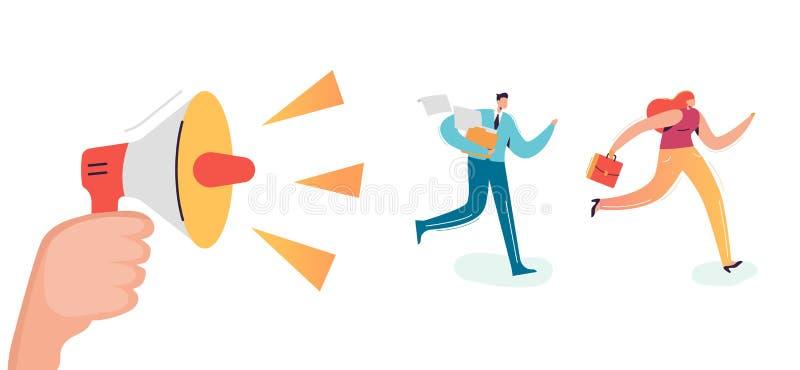 跑企业的字符工作办公室 呼喊在扩音器雇员仓促的上司 最后期限额外时间概念 向量例证