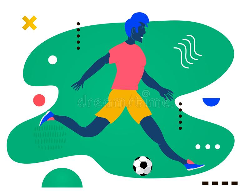 跑体育生活的年轻人 足球选手-踢橄榄球的一个人 在摘要做的创造性的传染媒介例证 向量例证
