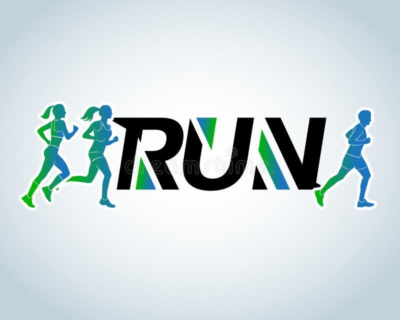 跑俱乐部商标模板, T恤杉设计 炫耀略写法模板、体育俱乐部、连续俱乐部和健身商标设计模板 向量例证