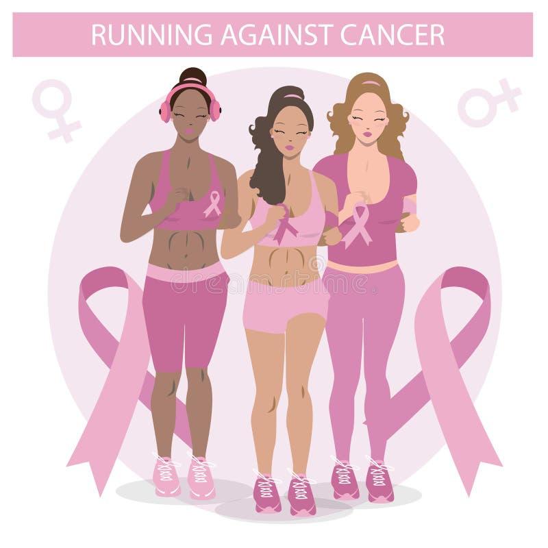 跑反对癌症的逗人喜爱的黑人女孩 一名妇女的平的例证传染媒介的 医疗竞选象 库存例证