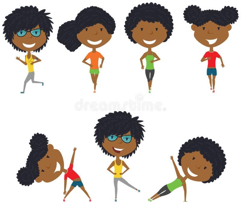 跑和制定出非裔美国人的女孩 库存例证