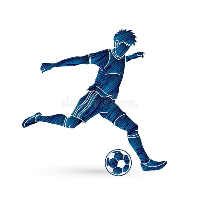 跑和踢球行动图表传染媒介的足球运动员 库存例证
