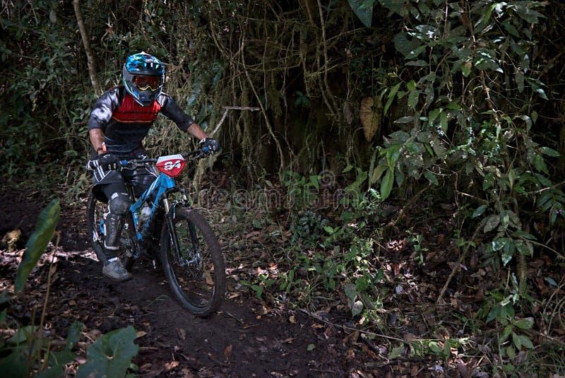 跑在一个山区的骑自行车者 免版税库存照片