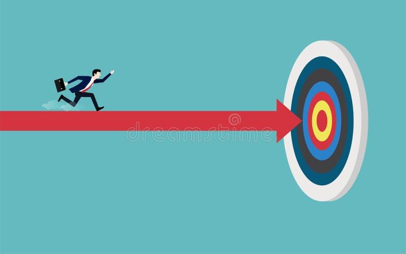 跑在一个红色箭头的商人指向目标 皇族释放例证