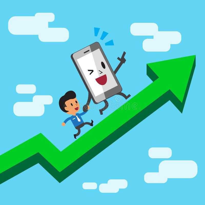 跑在一个绿色箭头的漫画人物智能手机和商人 向量例证