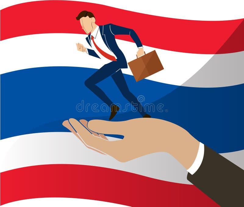 跑在一臂之力和泰国旗子背景的商人 向量例证